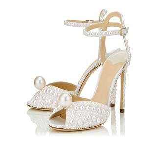 Luxus-Elfenbein-Perlen-Absatz-Hochzeit Schuhe Ausfräsmaß Peep Toe-Sommer-Sandelholz-Knöchel-Bügel-Frauen Sandalen Mujer