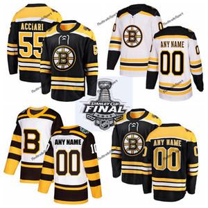 2019 Stanley Cup Final 보스톤 Bruins Noel Acciari 하키 유니폼 Cheap Mens # 55 Noel Acciari 검은 색 스티치 셔츠 Custom Name Number