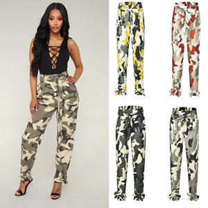 4 estilos niña pantalones de cintura alta moda pantalones femeninos camuflaje suelto elástico arrastre pantalones pantalones bolsillos bowknot mujeres pantalones M1043
