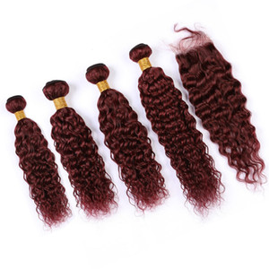 99J Влажный и волнистый человеческий 4Bundles волос и закрытие Wine Red Virgin Hair Water Wave Бразильские бургундские переплетения человеческих волос с кружевом Закрытия