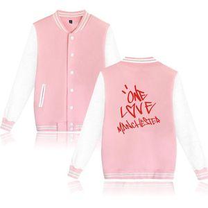 Veste en polaire Ariana Grande Baseball Uniforme Femmes Hommes Hara Hopuk One Streets Hara Hopuk One Love Manchester Pink Hoodies