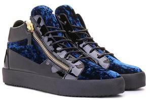 2019 Partei-Entwerfer-Turnschuh-Liebhaber-echtes Leder-hohe Spitzenfarbe der Mann-Frauen, die beiläufige Ebenen-Markenreißverschluß Schuhe zusammenbringt freies Verschiffen