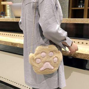25 Fashion Mini Shoulder Bags Womens Cartoon Plush Cute Cat Claw Shoulder Messenger Bag Student Phone Bags Crossbody Messenger Bags