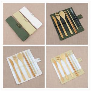 7pcs / set presentes portátil viagem Faqueiro Bamboo talheres Set Chopsticks Fork Colher de palha ao ar livre Louça conjunto útil da festa de casamento de Clientes