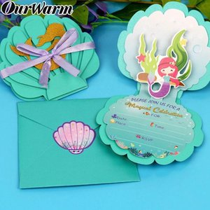 OurWarm Mermaid Party Decoration Invitation Cards Candy Paper Boxes Bags Gift for Guests Baby Shower Birthday Party Supplies