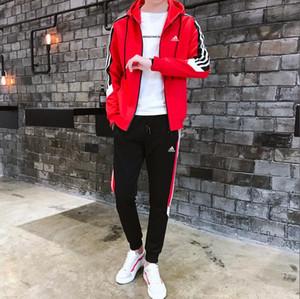 2019 ADIDAS Eşofman İçin Erkekler 2 adet Seti Yeni Moda Ceket Spor Erkek Eşofman Hoodie İlkbahar Sonbahar Marka Giyim Hoodies + Pantolon