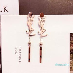Long Tassel Earrings Cyber Celebrity Y Letter Titanium Steel Earrings Fashion Retro Personality Joker Simple Ear Studs