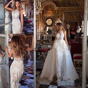 Beautiful Bling Bling Beaded Wedding Dresses Garden With Detachable Train Appliques Lace Sheath Backless Garden Bridal Gowns Milla Nova