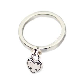 New Authentic 925 Sterling Silver Ring Coração-em forma de Cadeado Amor Coração Bloqueio Anéis Para As Mulheres Presente Fine Vanlentine's Day Europa Jóias