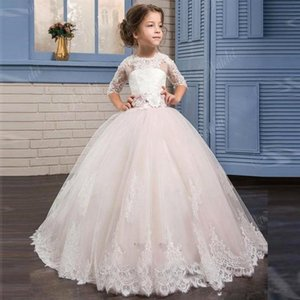 Blushing Pink Lace Appliqued Long Sleeves Princess Flower Girls' Dresses With Ribbon Back Organza Kids Formal Wear With Bow Sash