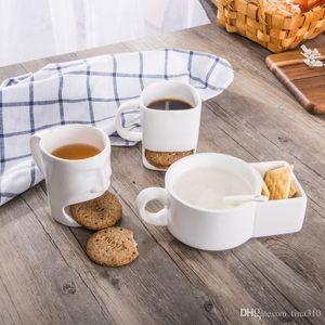 Nouvelle céramique tasse de thé blanc Biscuits tasse de lait Dessert Thé Tasse de bureau à domicile 50pcs / lot IC852
