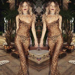 2020 Long-sleeved Leopard Print Sexy Tights Mini Dress Autumn and Winter Ladies Fashion Strap Leak Back Leopard Print Dress S-L