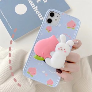 Mytoto 3D Cartoon Rabbit Bear Peach Strawberry holder stand silicone Soft phone case for iphone 11 Pro Max X XR XS 7 8 plus back cover