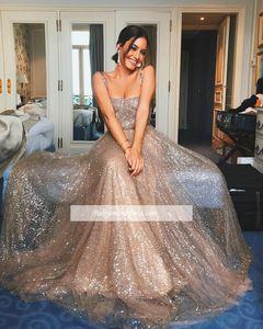 2019 Sparkly Lantejoulas Vestidos de Baile Decote Quadrado Correias A Linha Longos Vestidos de Noite Formal Barato Moda Celebridade Vestidos BC0349