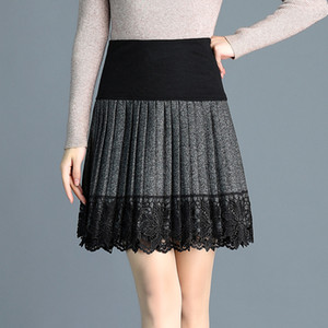 2020 Spring New Woolen Pleated Skirt Women Korean Lace Stitching Elastic Knit A Line Skirt Plus Size Black Gray Mini Skirts