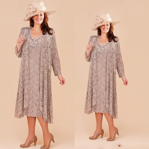 Платья для мамы невесты большого размера с длинным пиджаком 2019 Кружева с аппликацией свадебное платье для гостей Длина чая Пляжная одежда