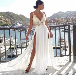 2019 vestidos de casamento de chiffon com pura lace sexy Bohemian dividir A linha de vestidos de noiva País boho vestidos de casamento personalizados feitos abiti da sposa