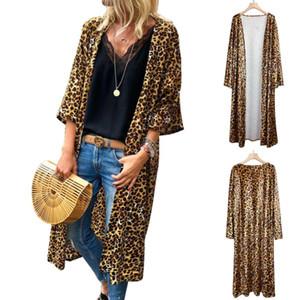 Women leopard long cardigan long sleeve ployester jacket Shawl for female women autumn new women autumn outwear coats
