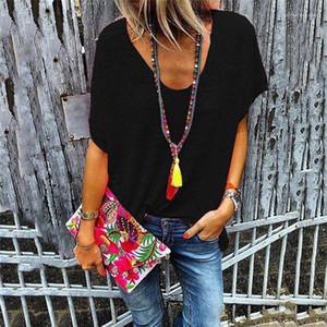 T-shirt manches courtes manches Batwing été Femmes Maillot de solides Porter Cacual Vêtements Femme Bonbons Colorés V-cou