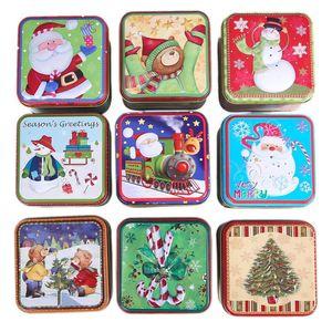 Caixa dos doces Tinplate Praça de Natal em forma de caixa de armazenamento de doces do presente do bolinho Xmas de Santa Sino Snowman Biscuits Can Box