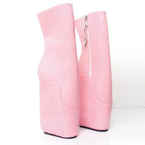 Ballerine con zeppa rosa Stivali di gomma tacco alto 18 cm / 7 pollici Donna con zip Heelless Stivaletti sexy Fetish Pinup RTBU Donna
