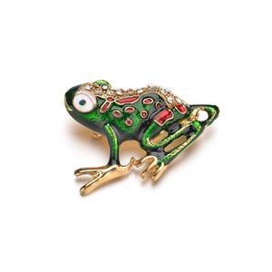 Verde smalto Frog Spille per gli uomini copre il vestito accessori gioielli Donna Ragazzi cartone animato rana pin spilla animale b31