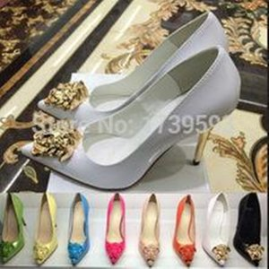 Nerw Moda Primavera Otoño Punta estrecha Damas doradas Cabeza Zapatos de tacón alto Zapatos de vestir de charol negro blanco Mujeres Bombas Tamaño 34-42