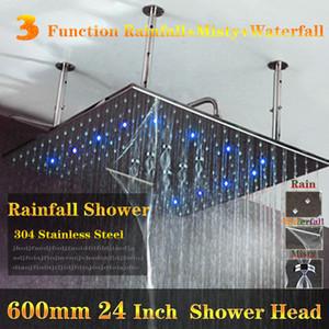 좋은 품질 높은 흐름 Led 빛 비 헤드 샤워 3 색 변경 욕실 샤워 멀티 함수 샤워 헤드 강우량, 폭포, 안개가 자욱한