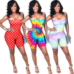 Été femmes shorts combinaison sans manches dos bandage barboteuses cravate teint dégradé polka dot gilet lacé haut shorts beach club vêtements