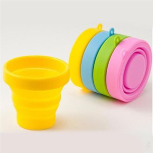 NEW Portable Silicone Retractable Folding Cup with Lid Outdoor Telescopic Collapsible Drinking Cup Travel Camping water cup B855