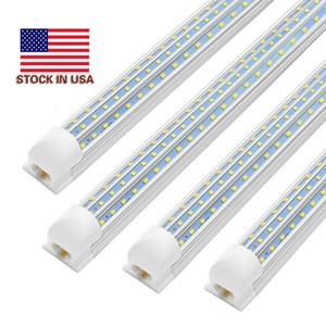 LED 튜브 라이트 2피트 4피트 8피트 V 자형 통합 LED T8 튜브 라이트 V 더블 사이드 4 행 LED 라이트 튜브 AC85-277V 모양의