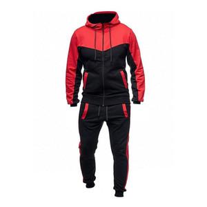 Chándalsuits Men 2 piezas Set Causal Color Patchwork Sportwear Mens Traje de ocio Bolsillos con capucha Sudaderas Sudaderas Pantalones Traje 3XL