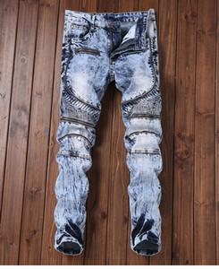 Herren Jeans High Street gefaltetes dünnes Stretch Jeans Zipper Design Long Denim Blue Hip Hop-Hosen-Bleistift-Hosen für Männer