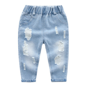 2019 Новая весна осень мальчики джинсы мода детские брюки мыть большие отверстия классический синий Все матч брюки светлый цвет