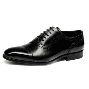 Vendita calda del mens del cuoio genuino di Lace Up Scarpe Uomo formale Abito scarpe a punta Calzature Heren Schoenen Large Size Nero Rosso