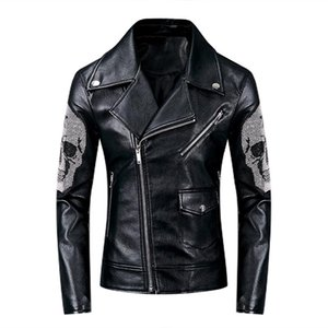 KIOVNO Men Fashion Punk Leather Jackets And Coats Skull Pattern Motorcycle Pu Faux Leather Jackets Outwear For Male Black