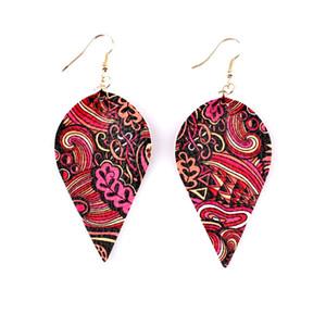2019 Цветочный принт Веганские кожаные серьги с каплями для женщин Цветочные пейсли с искусственной кожей и подвесками