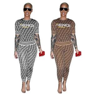 19ss deux pièces ensemble femmes survêtements printemps manches courtes imprimer pantalon long pull femmes ensemble de sport femme costumes mode