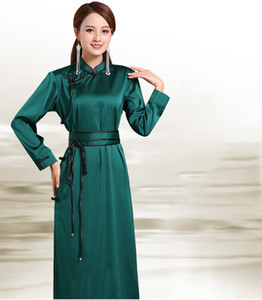 Mongolian traditional ethnic clothing oriental costume elegant Cheongsam gown women Casual Qipao Retro evening Vestido Silk Party Robe