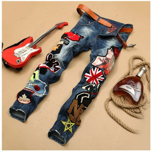 Personality Embroidery Beauty Badge Patch Jeans Men Ripped Jeans Fashion Brand Biker Hip Hop Denim Slim Fit Casual Pants