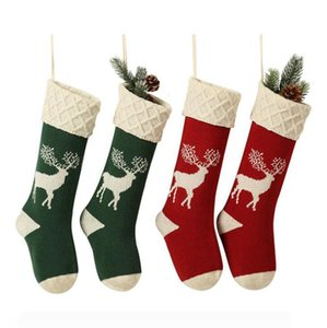 Christmas Knitted Stocking Christmas Tree Elk Snowflake 46cm Candy Bag Party Home Decoration Gift Bags OOA7287