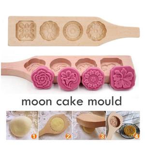 Kuchen-Form-DIY Holz Mond Selbst gemachter Mooncake Maker 4 Blumen-Fondant-Mousse-Plätzchen-Form-Gebäck-Backen-Werkzeuge verziert LXL856-1