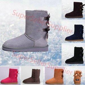 UGG Boots Женские сапоги короткие мини Австралия Классические зимние сапоги Колено Дизайнер Bailey Bow Лодыжки Боути Черный Серый Каштановый Красный 36-41