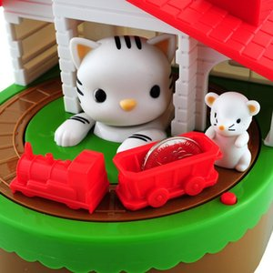 Cute Mouse And Cat Piggy Bank With Music NEW Electronic Piggy Bank Coins Saving Boxs Desk Toy For Kids Birthday Christmas Gift a