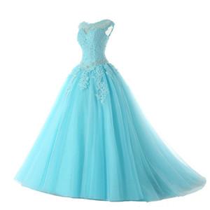 Lace Appliques Quinceanera Dresses with Open Back Sky Blue 2020 Beaded Prom Dress Vestidos De Fiesta