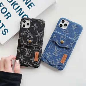 2019 жесткий чехол слот для карт новый джинсовой текстуры мобильный телефон случае для Iphone 11 PRO MAX iphone Xs макс ХГ X 7 6 8 8plus задняя крышка couqe Капа