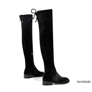 Winter Autumn Over The Knee Boots Long Thick Tube With Solid Color Elastic Force Leisure Female