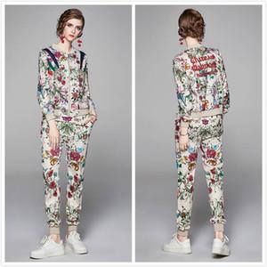 Luxus Damen Runway Floral Two Piece Sets Langarm Drucken Jacken Mantel + Lange Hose 2 PC Slim Elegante Damen Designer Zweiteilige Hosen