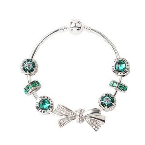 Neues Diamantbogen-Armband für Pandora Style Womens Green Beaded Gifts