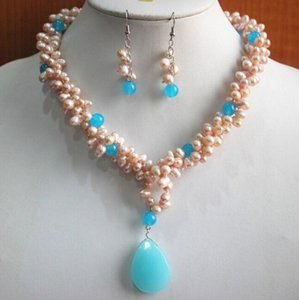 jewelry Wholesale fresh water shell pearl mixed blue necklace+ earring and necklace pendant jewelry set